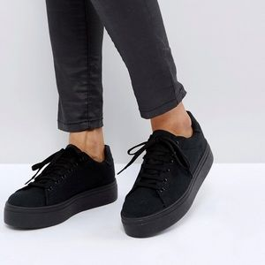 ASOS DESIGN CHUNKY FLATFORM LACE UP SNEAKERS